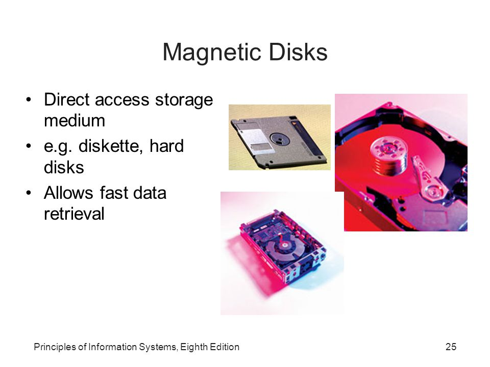 Magnetic Disks Direct access storage medium e.g. diskette, hard disks