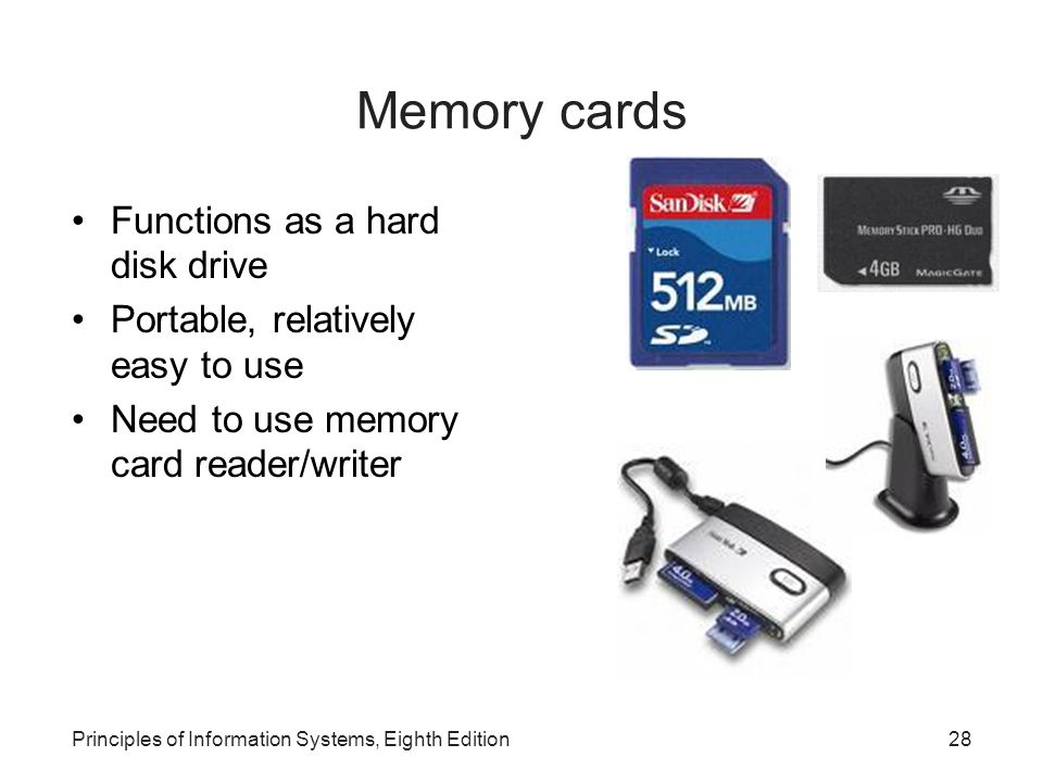 Memory cards Functions as a hard disk drive