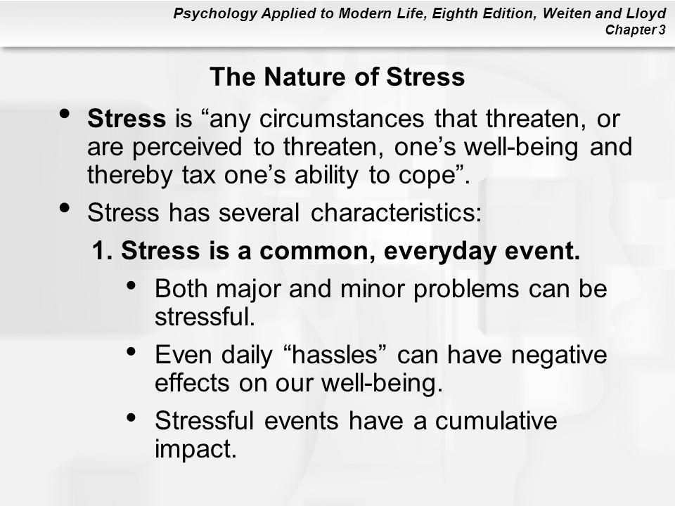 the nature of stress experienced during The high level of hormones released during that experienced subjects show few or origins of stress by looking soley at the nature of the.