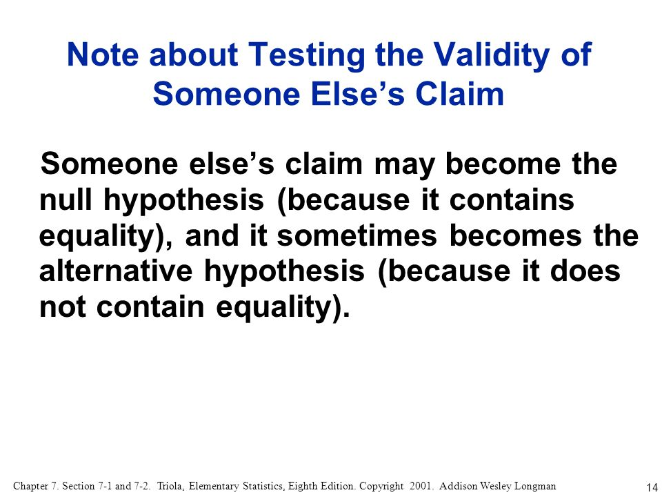 Note about Testing the Validity of Someone Else's Claim
