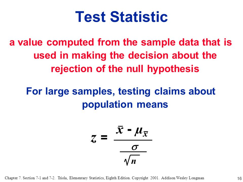 For large samples, testing claims about population means