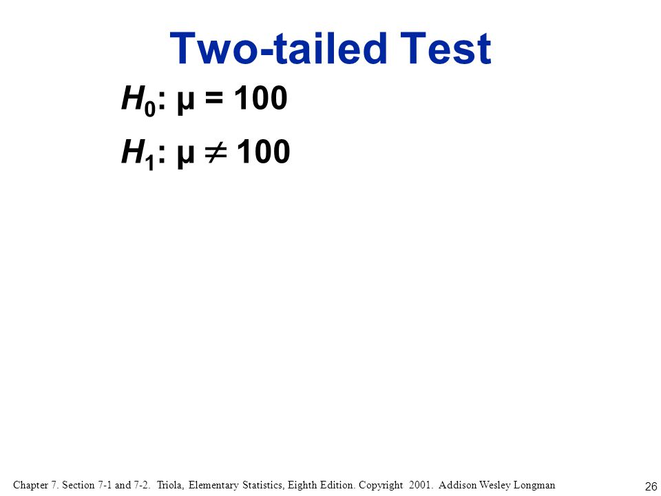 Two-tailed Test H0: µ = 100 H1: µ  100