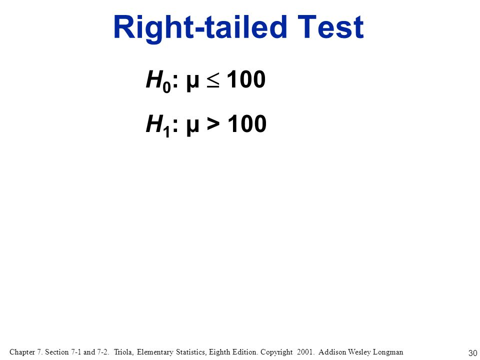 Right-tailed Test H0: µ  100 H1: µ > 100