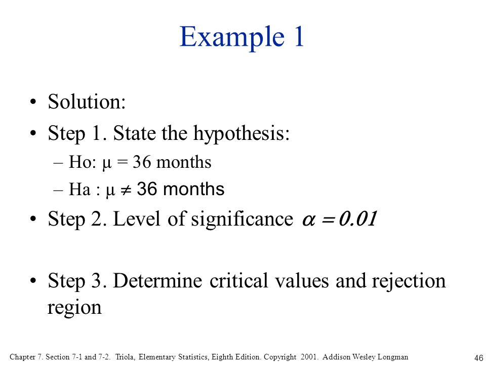 Example 1 Solution: Step 1. State the hypothesis: