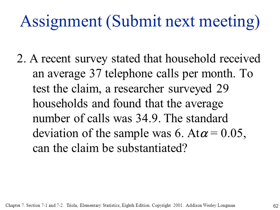 Assignment (Submit next meeting)