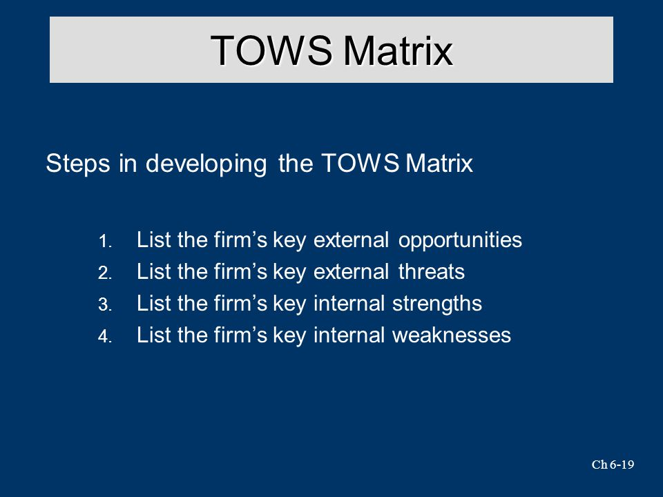 TOWS Matrix Steps in developing the TOWS Matrix