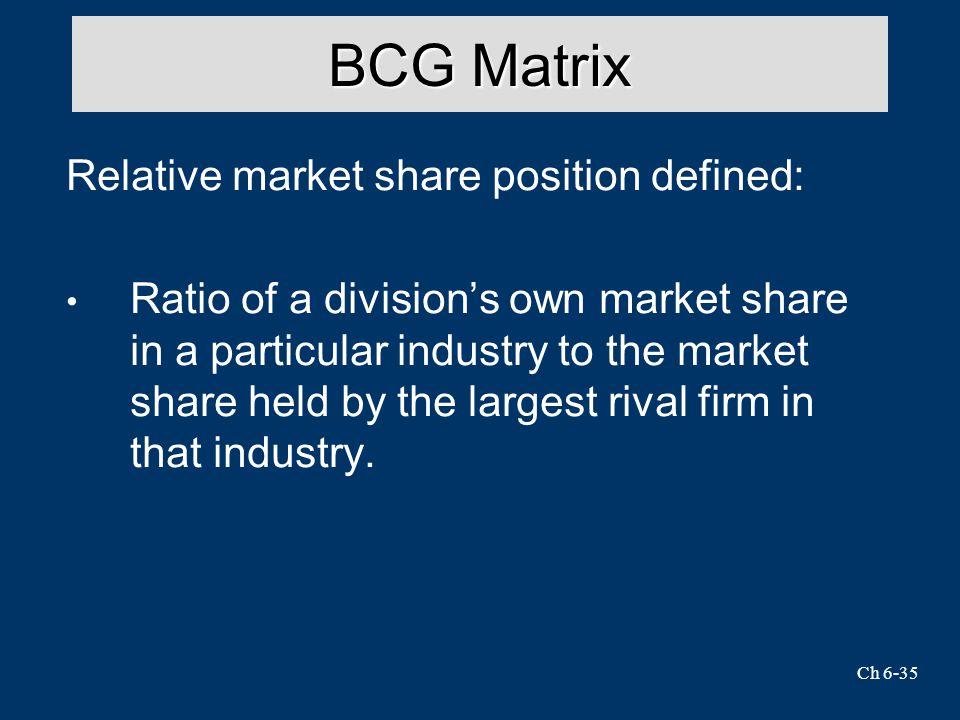 BCG Matrix Relative market share position defined: