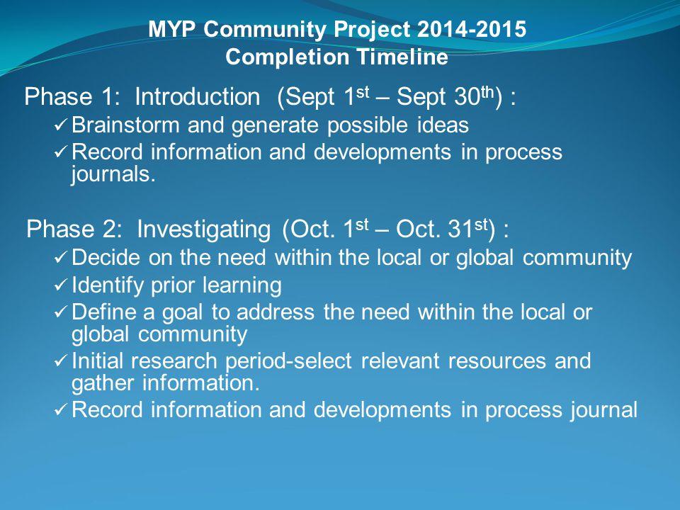 MYP Community Project 2014-2015