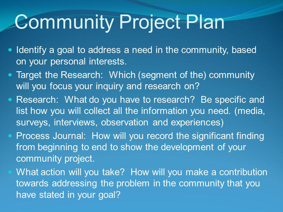 Community Project Plan