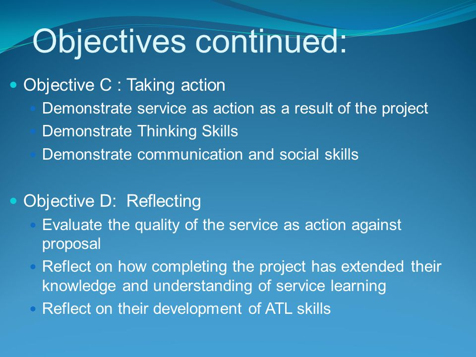 Objectives continued: