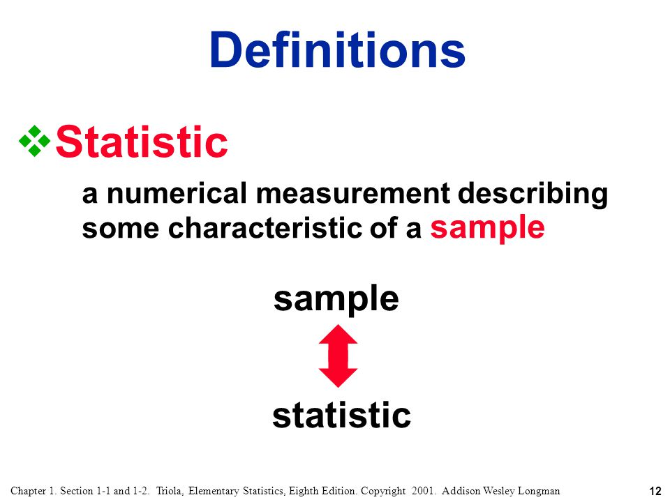 Definitions Statistic sample statistic
