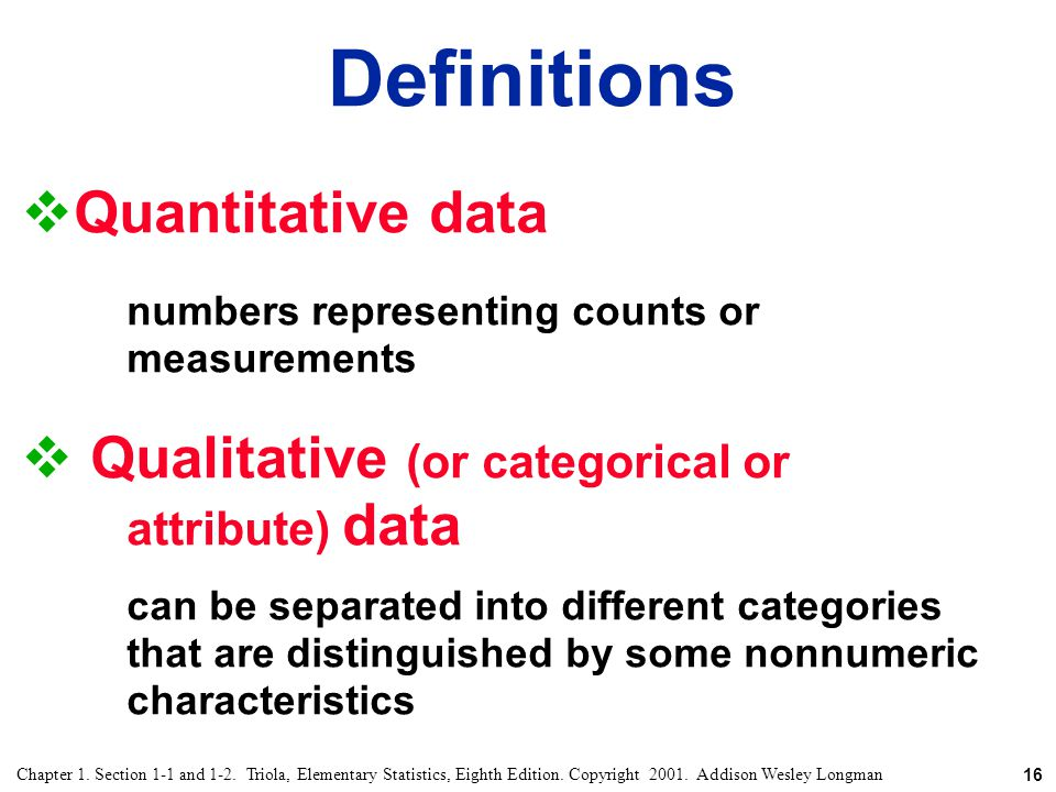 Definitions Quantitative data