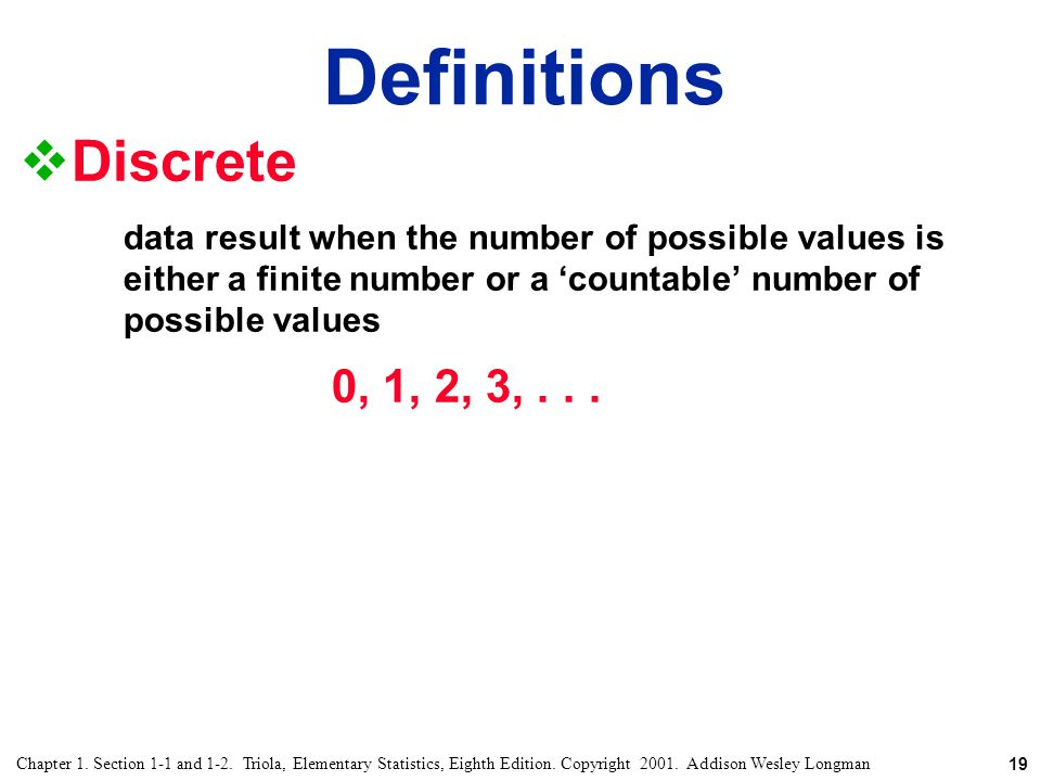Definitions Discrete. data result when the number of possible values is either a finite number or a 'countable' number of possible values.