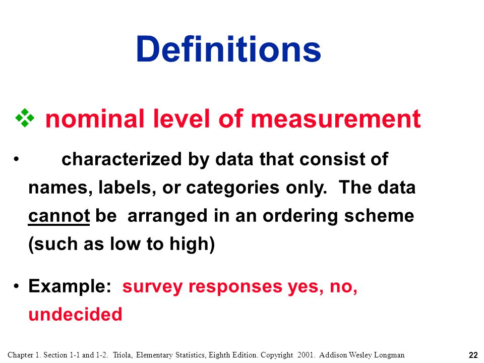 Definitions nominal level of measurement