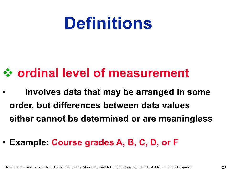 Definitions ordinal level of measurement