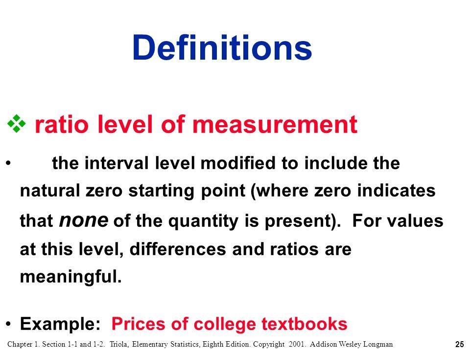 Definitions ratio level of measurement