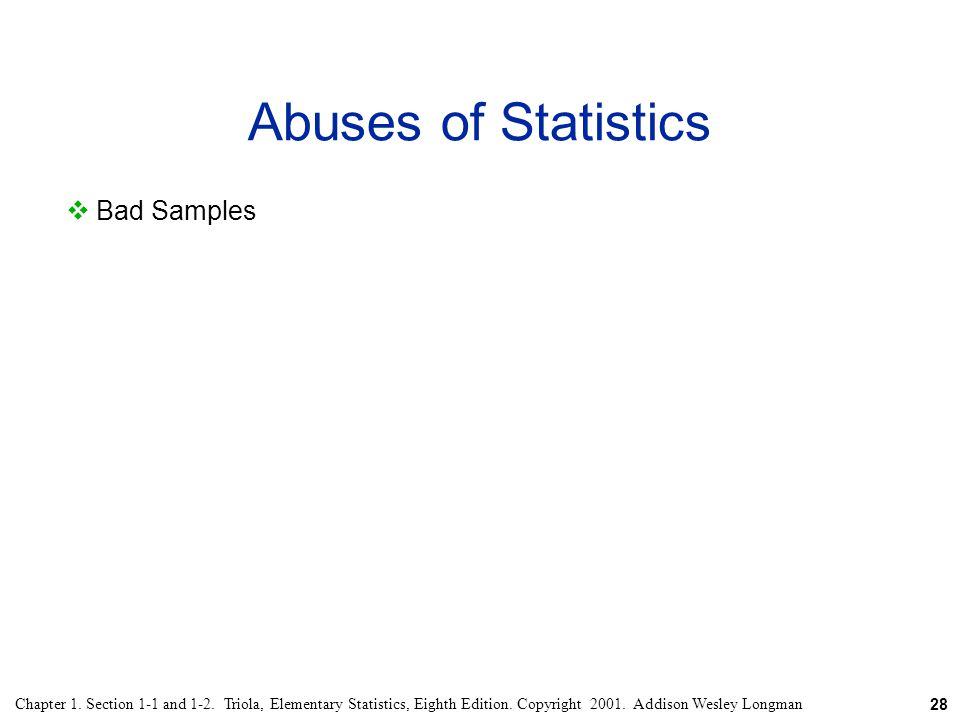 Abuses of Statistics Bad Samples