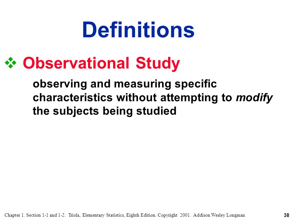 Definitions Observational Study