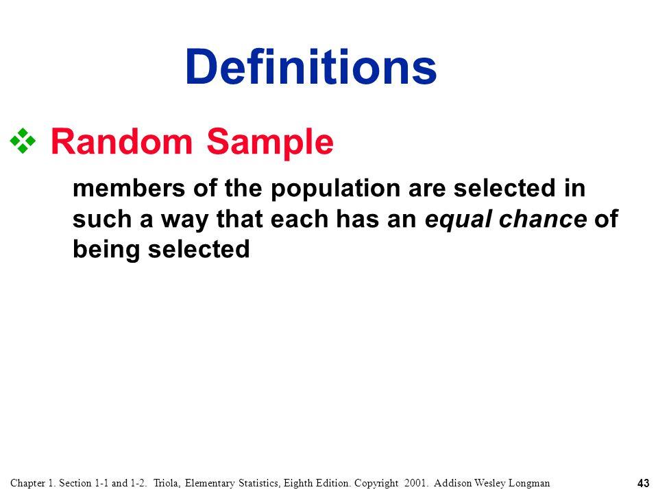 Definitions Random Sample