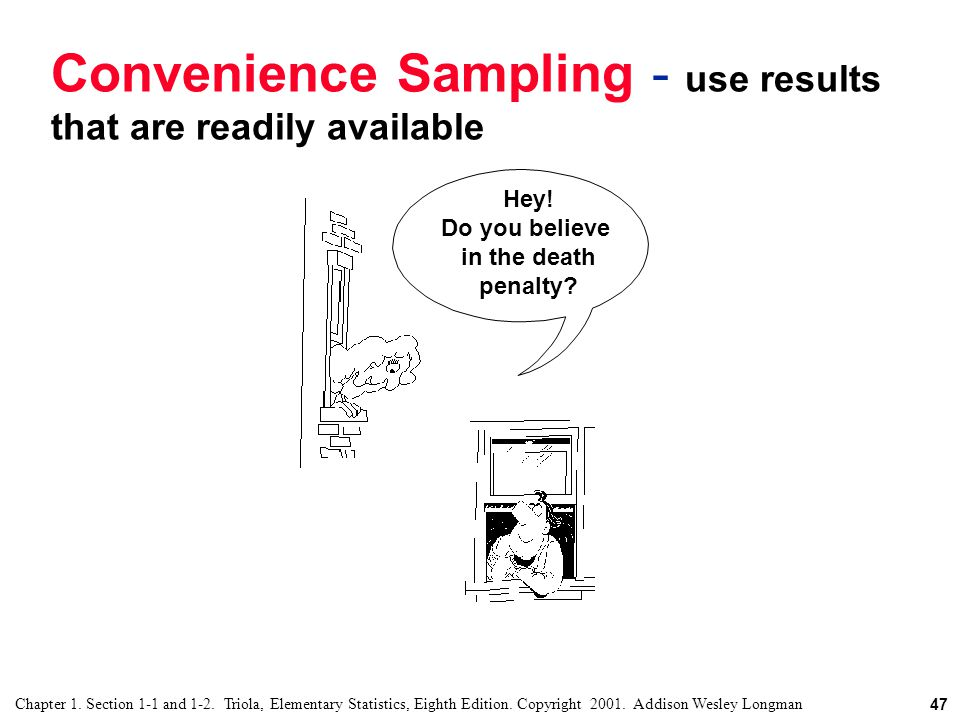 Convenience Sampling - use results that are readily available