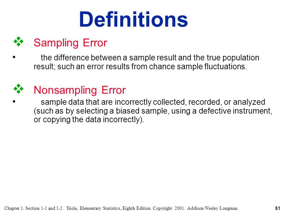 Definitions Sampling Error Nonsampling Error