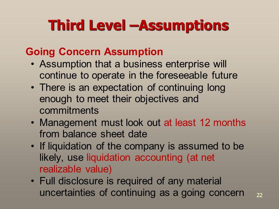 Third Level –Assumptions