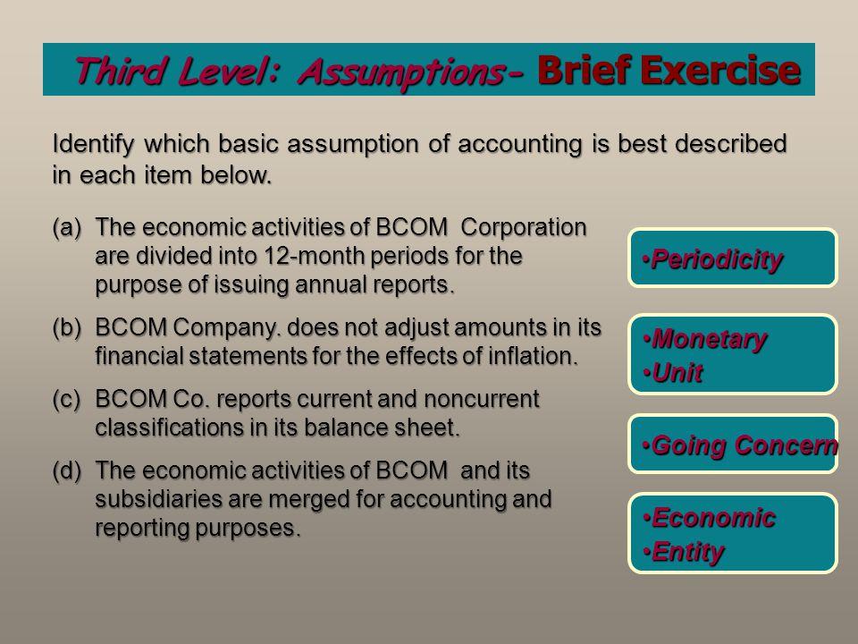 Third Level: Assumptions- Brief Exercise