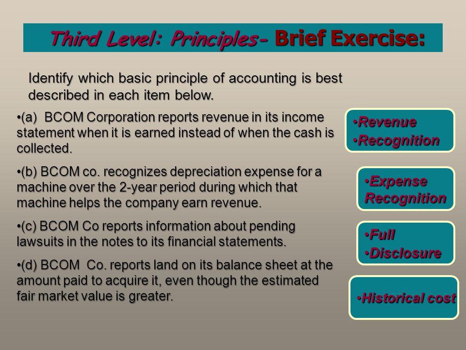 Third Level: Principles- Brief Exercise:
