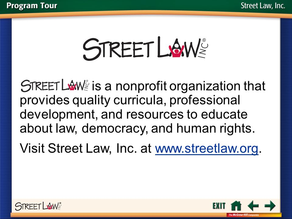 Visit Street Law, Inc. at www.streetlaw.org.