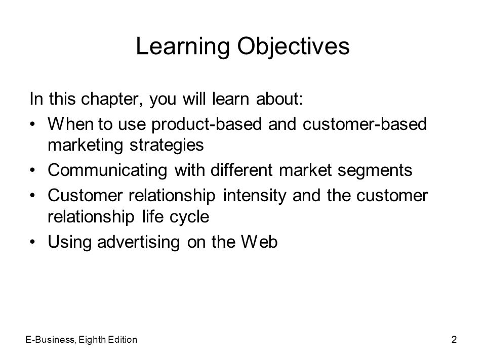 Learning Objectives In this chapter, you will learn about: