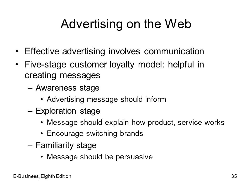 Advertising on the Web Effective advertising involves communication