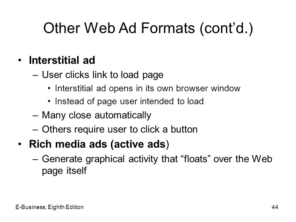 Other Web Ad Formats (cont'd.)