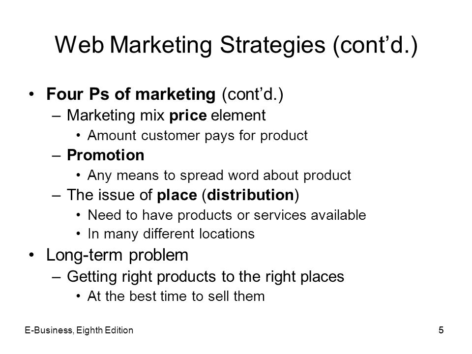 Web Marketing Strategies (cont'd.)