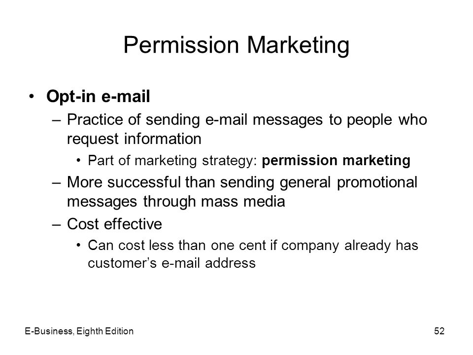 Permission Marketing Opt-in e-mail