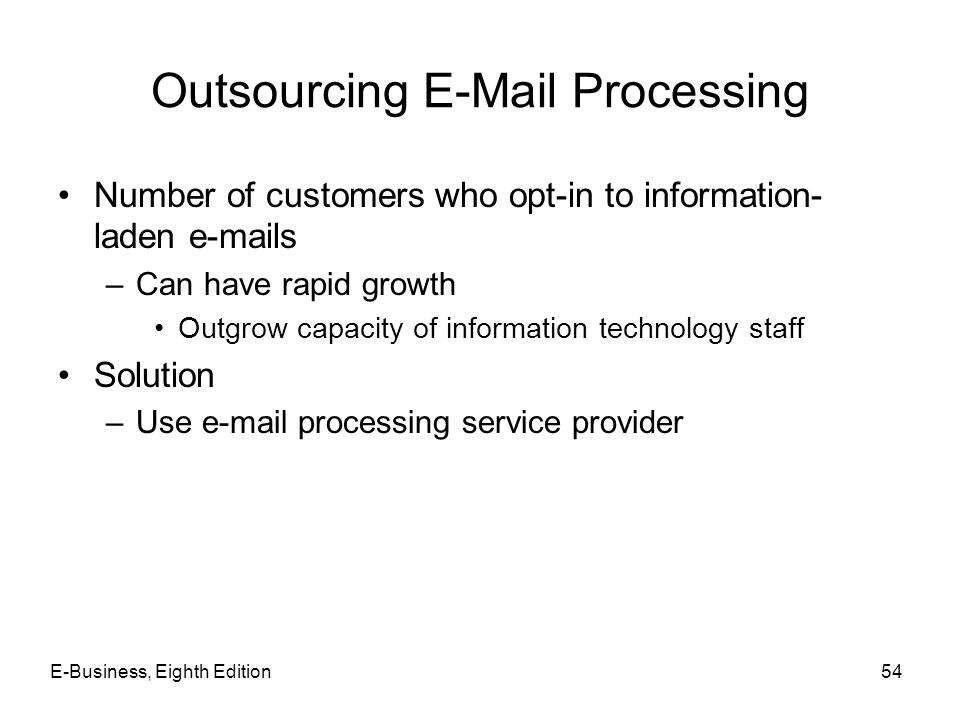 Outsourcing E-Mail Processing