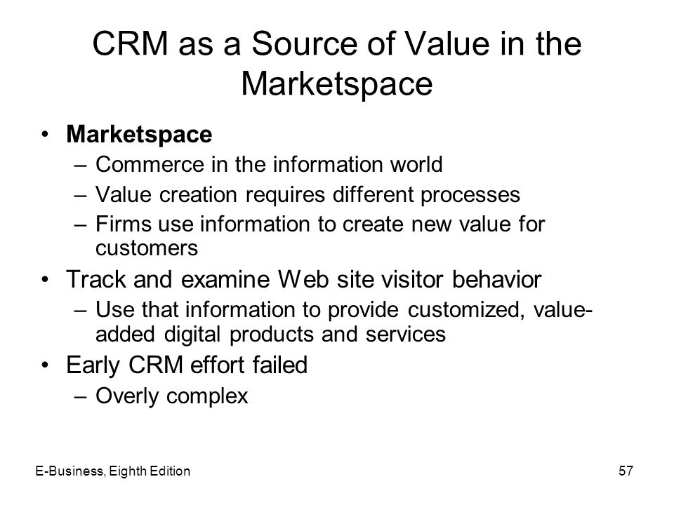 CRM as a Source of Value in the Marketspace