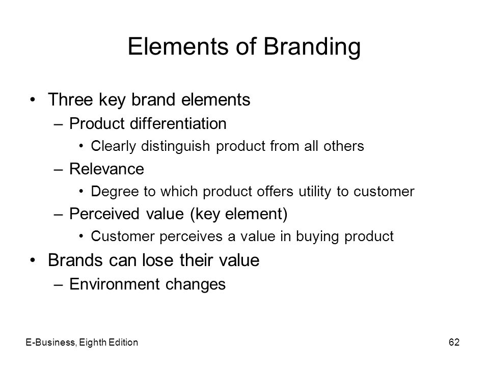 Elements of Branding Three key brand elements
