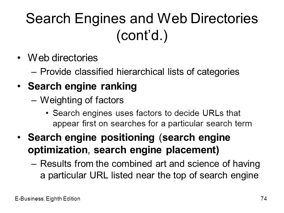 Search Engines and Web Directories (cont'd.)