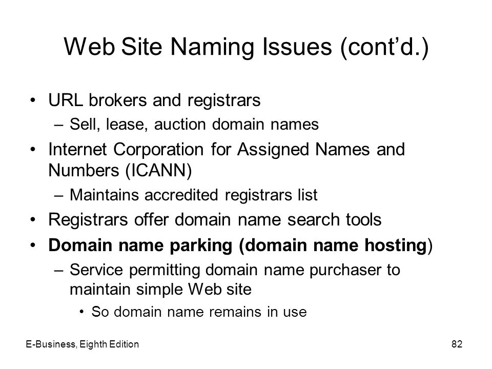 Web Site Naming Issues (cont'd.)