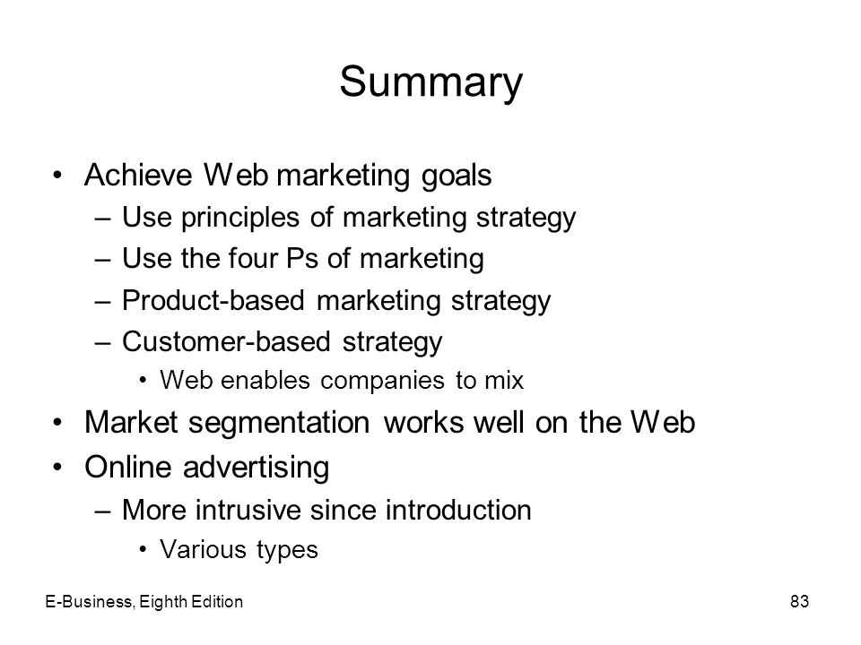 Summary Achieve Web marketing goals