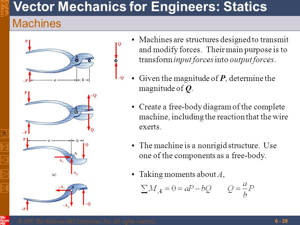 Machines Machines are structures designed to transmit and modify forces. Their main purpose is to transform input forces into output forces.