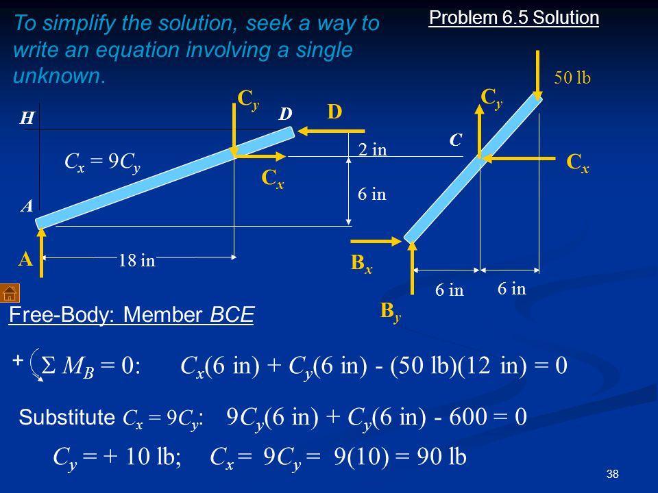 S MB = 0: Cx(6 in) + Cy(6 in) - (50 lb)(12 in) = 0