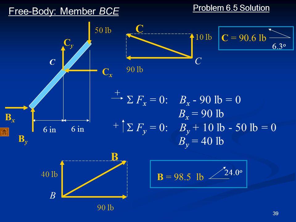 C S Fx = 0: Bx - 90 lb = 0 Bx = 90 lb S Fy = 0: By + 10 lb - 50 lb = 0