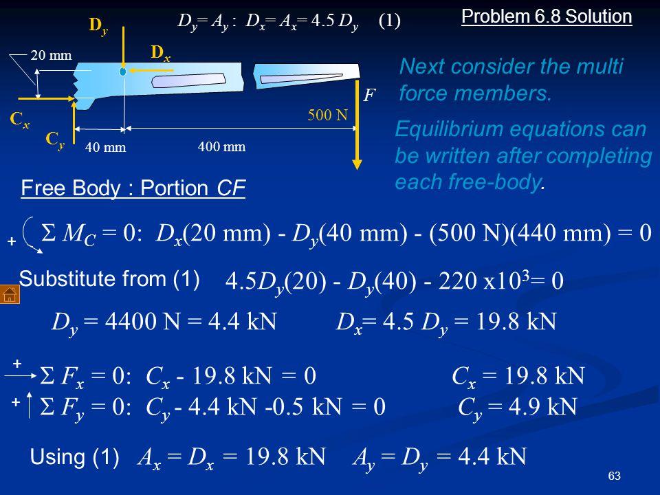 S MC = 0: Dx(20 mm) - Dy(40 mm) - (500 N)(440 mm) = 0