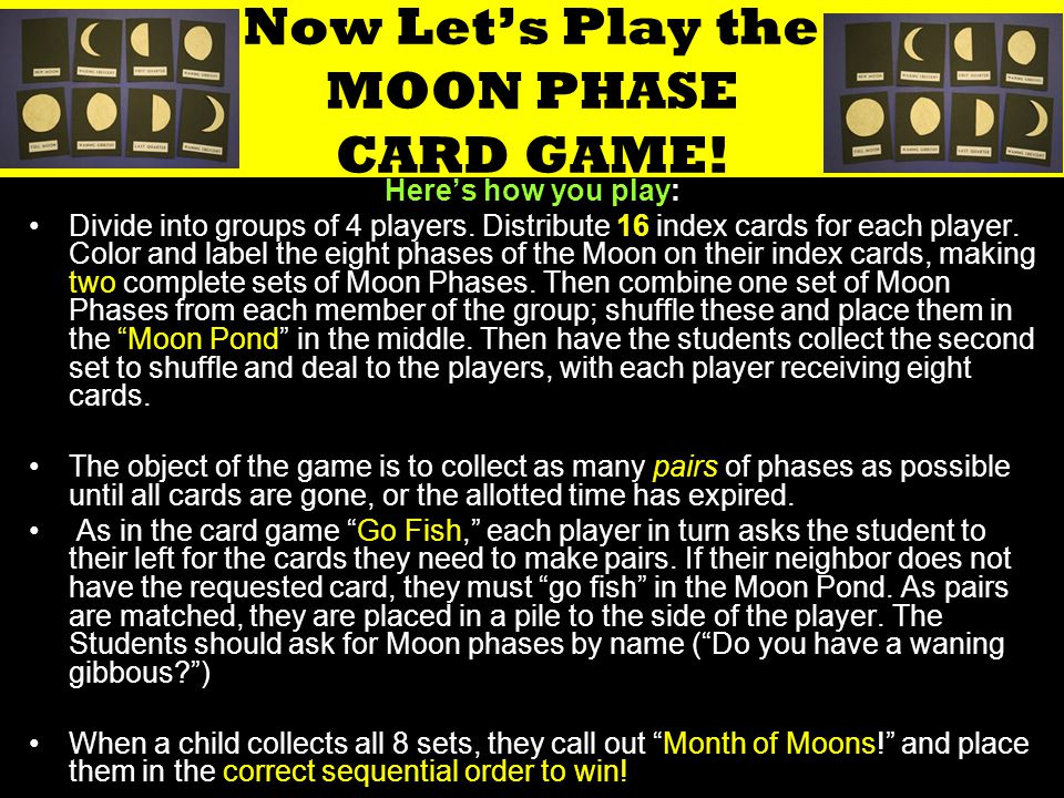 Now Let's Play the MOON PHASE CARD GAME!