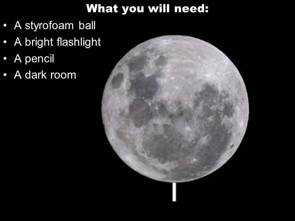 What you will need: A styrofoam ball A bright flashlight A pencil A dark room
