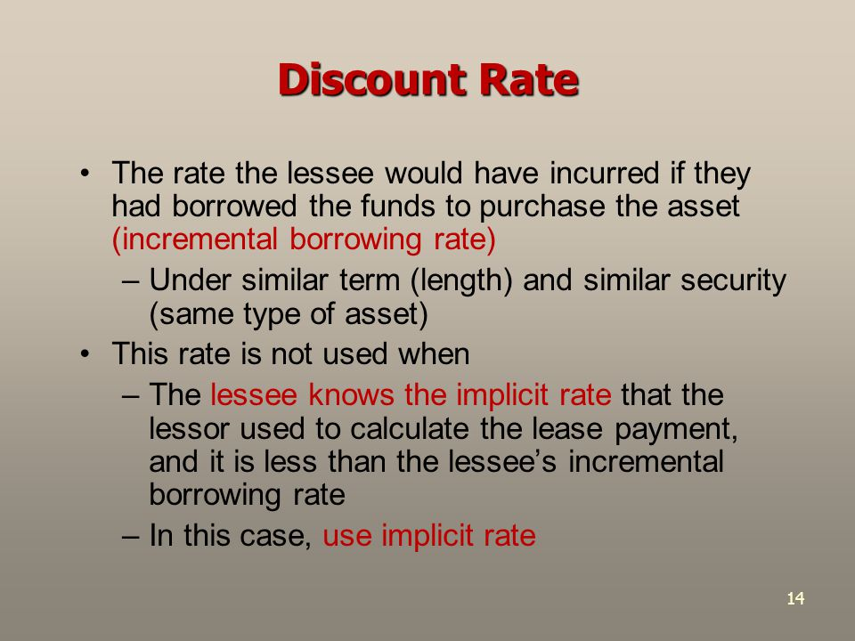 Discount Rate The rate the lessee would have incurred if they had borrowed the funds to purchase the asset (incremental borrowing rate)
