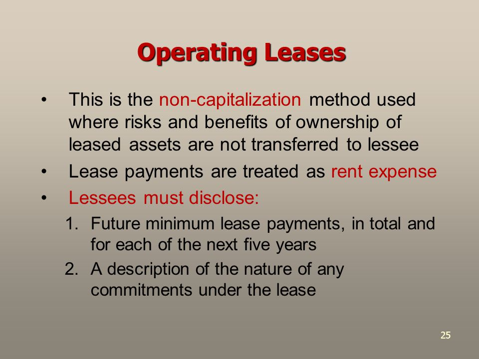 Operating Leases This is the non-capitalization method used where risks and benefits of ownership of leased assets are not transferred to lessee.