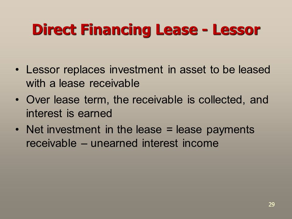 Direct Financing Lease - Lessor