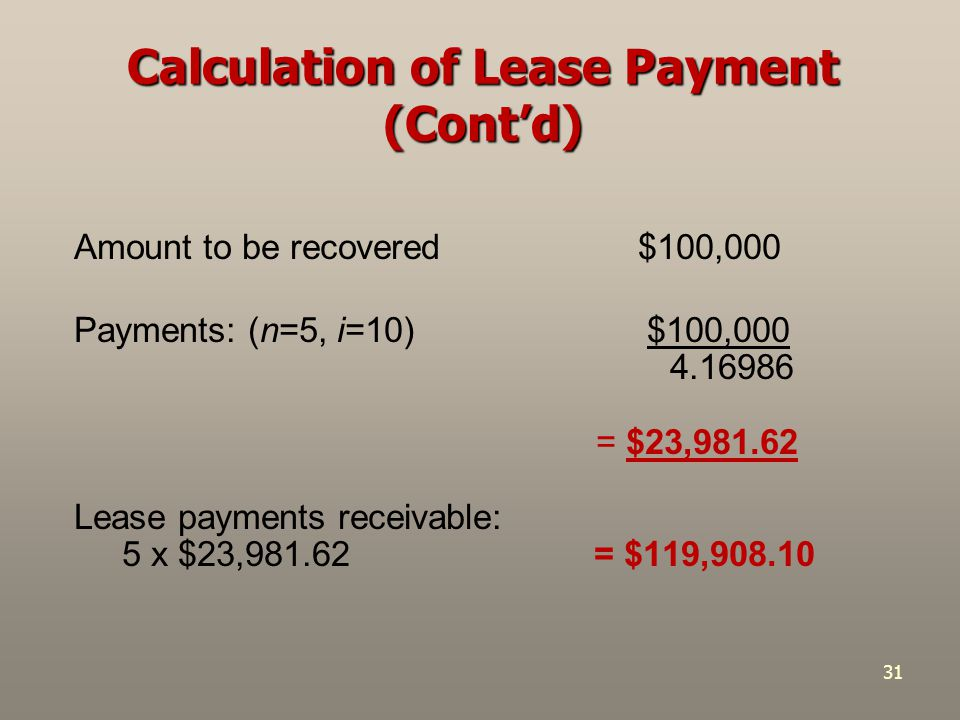 Calculation of Lease Payment (Cont'd)